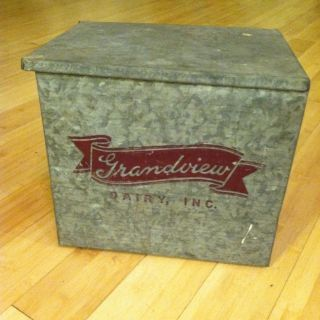 Vintage Grandview Dairy Milk Galvanized Insulated Porch Box