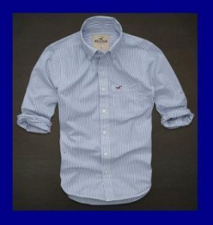 Hollister Button Down Striped Dress Shirt Large L Blue White Stripes