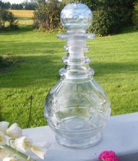 Antique Vintage Old 1900 Cut Glass Thumb Print 24oz Wine Liquor