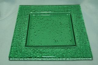 Large Green Glacier Glass Square Sushi Candle Plate