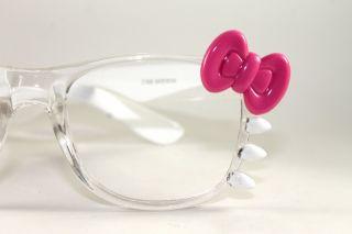 Hello Kitty Bow Unisex Fashion Clear Lens Retro Glasses Frame