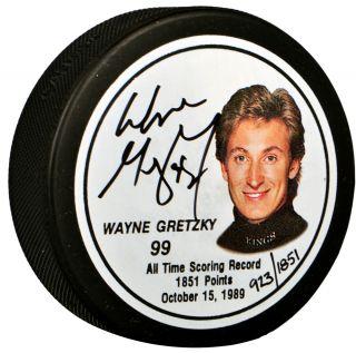 Wayne Gretzky Autographed Commemorative Puck   Limited Edition     Los