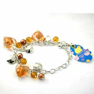 Lovely Lampwork Glass Bead Pearl Heart Bracelet Fashion Jewelry