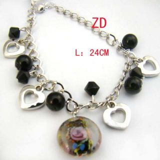 A0296 Nice Black Glass Crystal Bead Heart Link Bracelet