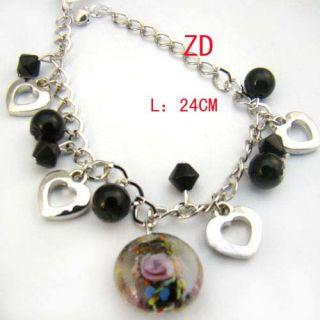 A0296 Nice Black Glass Crystal Bead Heart Link Bracelet
