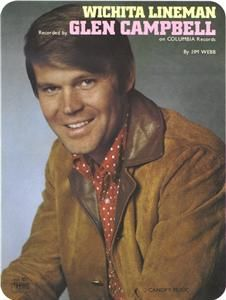 Glen Campbell Wichita Lineman Jim Webb Sheet Music Piano and Organ