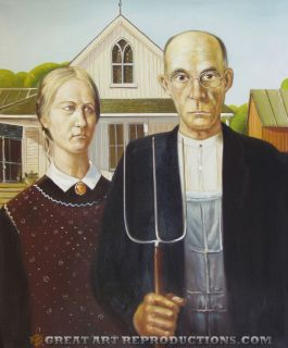 American Gothic by Grant Wood Reproduction in Oil 24X20