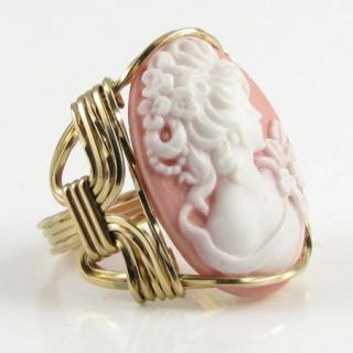 Grecian Goddess Cameo Ring 14k Rolled Gold Pink Custom Jewelry