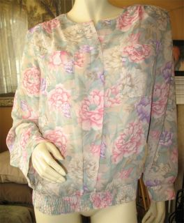 Womens Georgette Green Pink Purple Floral Flowers Long Sleeve Top