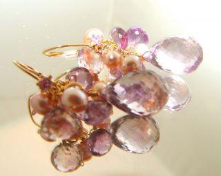 14k Gold Leverback Glittering Pink Amethyst Briolette Earrings
