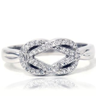 Womens Knot Everlong Solid 14k White Gold Anniversary Band