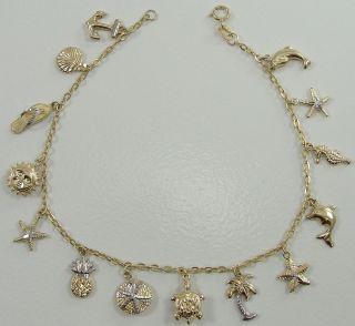 10K Yellow Gold Beach Theme Charm Bracelet Anklet Starfish Pineapple