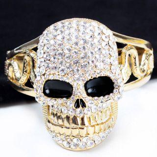 Gold Punk Rhinestone Skull Head Goth Snake Women Bracelet Bangle Cuff