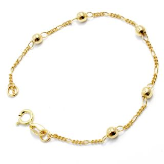 Gold 18K GF Bracelet Girl Baby Birth Gift Kids Chain Ball Thin 5 New