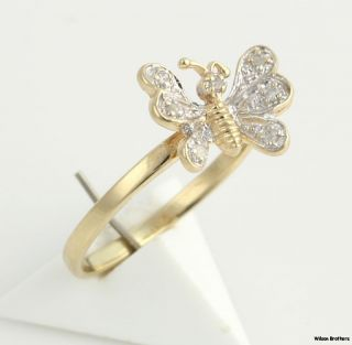 Diamond Butterfly Ring Solid 10K White Yellow Gold Fine Estate WomenS