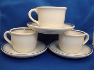 Pfaltzgraff Sky 3 Coffee Cups Saucers Dark Light Blue Bands Tea Cup