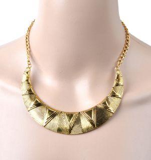 Gold Tone Crescent Bib Pendant Choker Statement Necklace