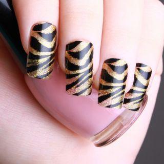 Sexy Gold Zebra stripe Nail Art Foil Ultra Thin Polish Skin Wrap Patch