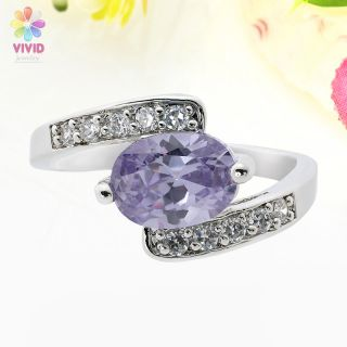 Jewelry Gift Oval Cut Purple Tanzanite Gold Plated Cocktail Ring 6