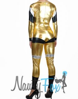 Retro Gold Silver Metallic Bodysuit Power Ranger Halloween Costume