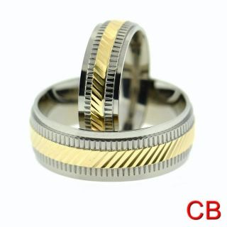 Matching Titanium Wedding Rings Bands with Gold PL Center for Men and
