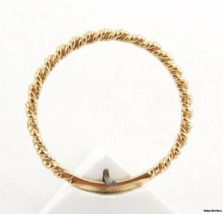 Rope Etched Gold Band   Solid 14k Yellow Gold Fine Estate Ring Womens