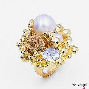 Big Crystal Pearl Rose Adjustable Cocktail Gold Ring 87