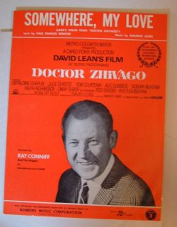 Dr Zhivago Somewhere My Love Song Sheet Music Ray Conniff Singers Lara