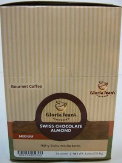 Gloria Jean Swiss Chocolate Almond Coffee 24 Count K Cups New
