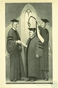 Grant Wood WPA 1939 Print Honorary Degree Graduation