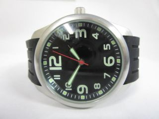 Unbranded Quartz Watch Black Round Dial with Glow in The Dark