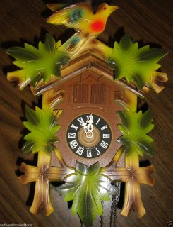 Rare Working Vintage Color German 2 Door Cuckoo Clock Music E