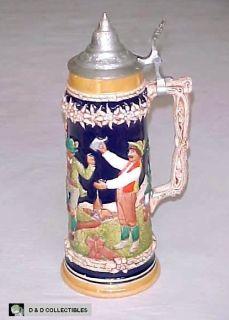 Vintage Gertz 1 1 2 Liter Pewter Lidded German Beer Stein