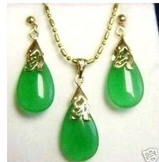 Jewelry Green Jade Pendant Necklace Earring Set