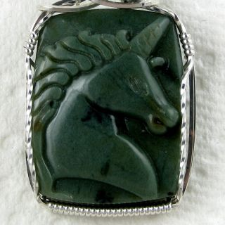 Unicorn Natural Carved Green Jade Gemstone Pendant Sterling Silver