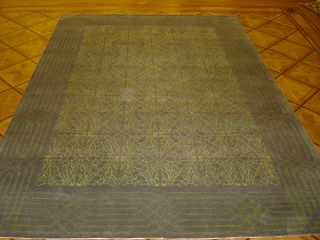 Gray & Sea Green Plush Hand Knotted Wool & Silk Transitional Area Rug