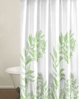 White And Green Shower Curtain Fabric Leaves Nice Bathroom Home Decor