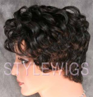 100 Human Hair Wig Short Curly 10 Grey Black Mix ABH5