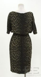 Giambattista Valli Green Black Leopard Print Silk Dress Size 38 New $