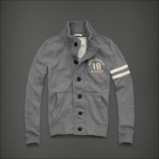 Abercrombie Fitch A F Lewey Mountain Gray Fleece Jacket Coat