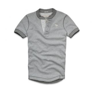 ABERCROMBIE & FITCH Mens Medium Gray Micro Stripe Short Sleeve Henley