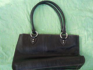 Gianfranco Black Leather Double Strap Magnet Closure Shoulderbag
