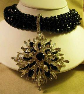 Sgd R J GRAZIANO Jet Black Bead Rhinestone Blk Pendant Necklace & Coil