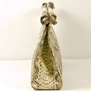 Nancy Gonzalez Extra Large Natural Python Top Handle Clutch Bag