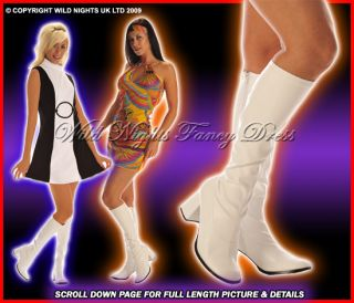 60s 70s Ladies Hippy GoGo Boots Inc White Pink Silver