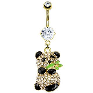 Gold Plated Gemmed Panda Dangle Belly Button Navel Ring Body Piercing