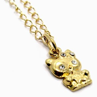 Gold 18K GF Baby Girl Toddler CZ White Crystal Hello Kitty Pendant