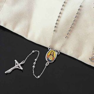 60cm 9K White Gold Filled Jesus Cross Mens Necklace