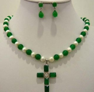 beautiful 7 8mm white pearl green jade necklace pendant earrings set
