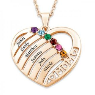 Personalized Gold Plated Mom Heart Birthstone Name Necklace   2 to 6